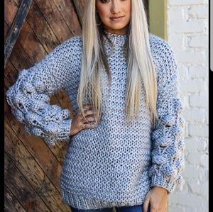 lulusimonstudio pom pom popcorn knit sweater large